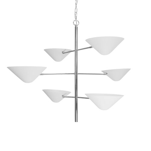 Matte White Six-Light Chandelier