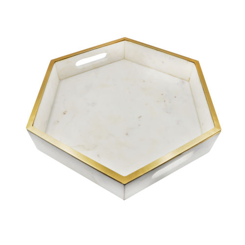Brass and White Marble Tray with Brass Lining