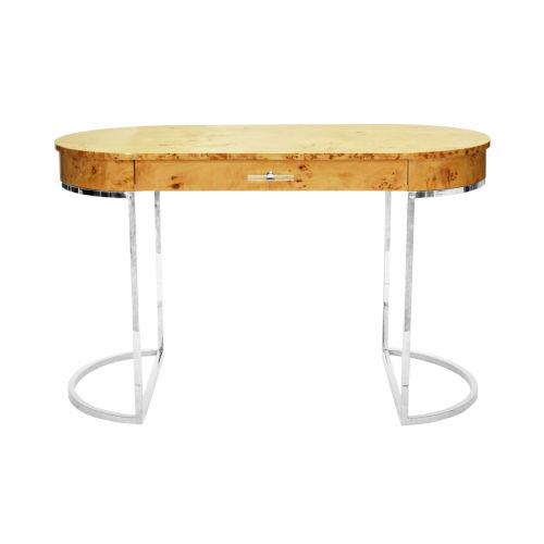 Glossy Burl Wood and Polished Nickel Oval Desk