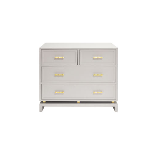 Matte Grey Lacquer and Gold Leaf Chest