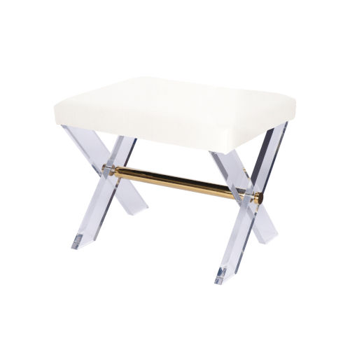Polished Brass and White Linen Stool