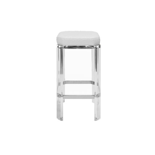 Acrylic, Polished Nickel and White 27-Inch Counter Stool with Cushion