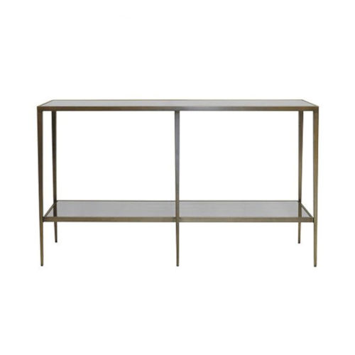 Bronze and Antique Mirror Console Table