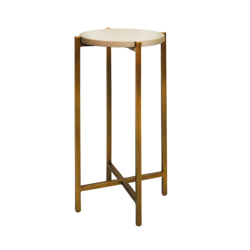 Antique Brass and Gray Faux Shagreen 20-Inch End Table
