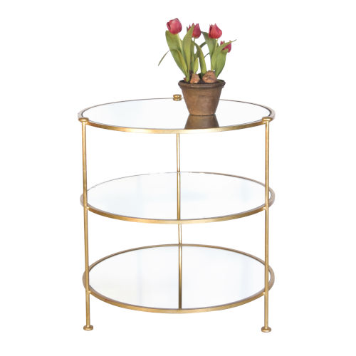 Gold Leaf Three-Tier End Table