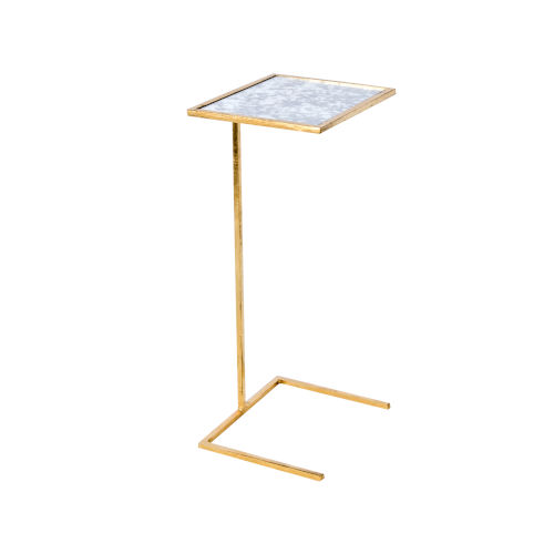 Gold Leaf and Antique Mirror 26-Inch End Table