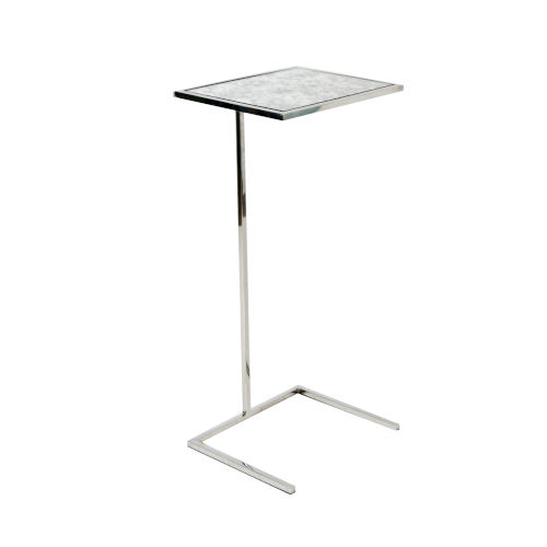 Polished Nickel and Antique Mirror End Table