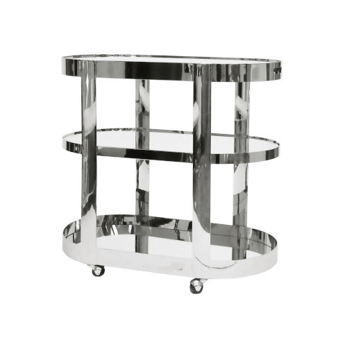 Polished Nickel and Plain Mirror Bar Cart