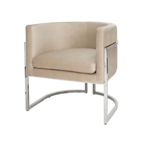 Polished Nickel and Cream Velvet Chair