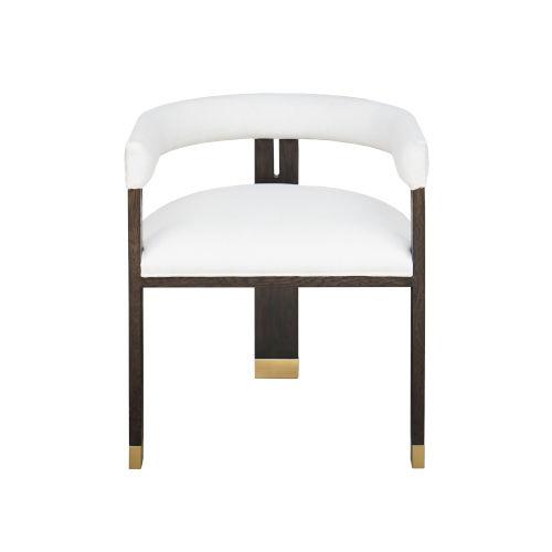 Dark Espresso Oak and White Linen Upholstery Stool