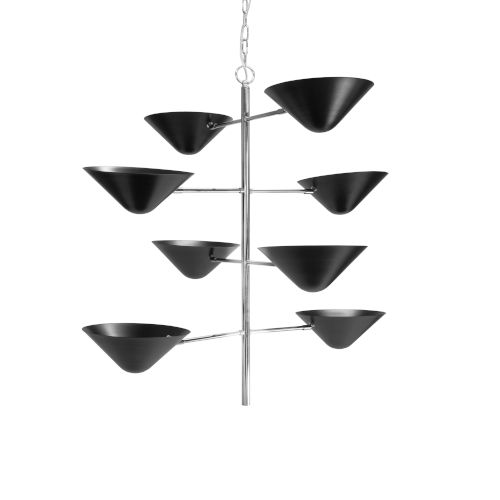 Matte Black and Polished Nickel Eight-Light Chandelier