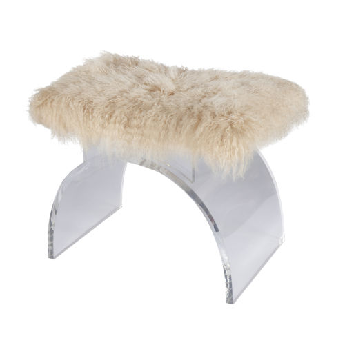 Acrylic and Natural Stool with Mongolian Fur Cushion