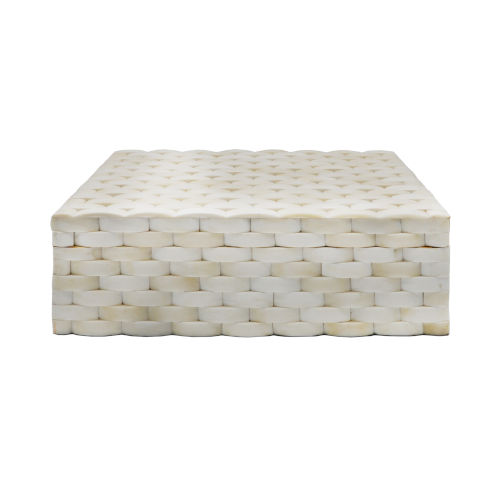 Natural Bone 12-Inch Basketweave Decorative Box