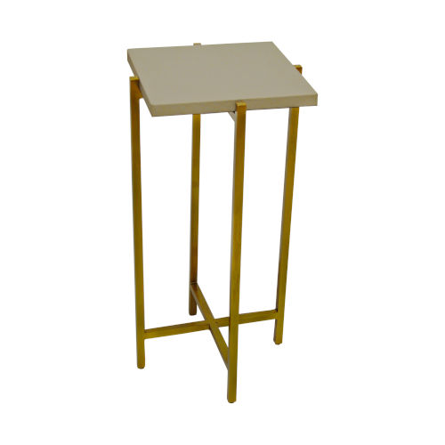 Antique Brass and Gray Faux Shagreen 10-Inch End Table