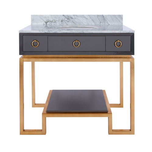 Glossy Dark Grey Lacquer and Gold Leaf Two Drawer Bath Vanity