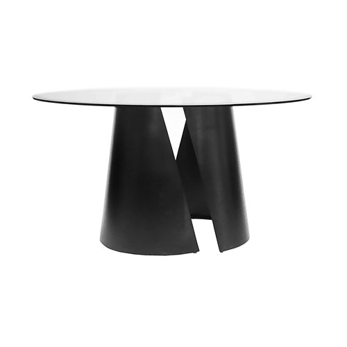 Black Powder Coat 48-Inch Set of Two dining Table Base with Clear Glass