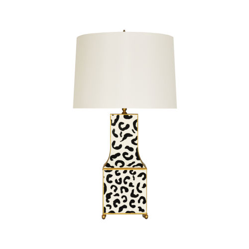 Black, White and Gold Leopard Table Lamp