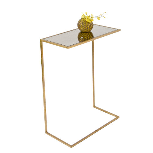 Gold Leaf and Antique Mirror 10-Inch End Table