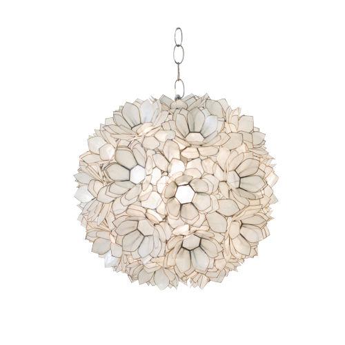 Capiz Shell 15-Inch Lotus Pendant