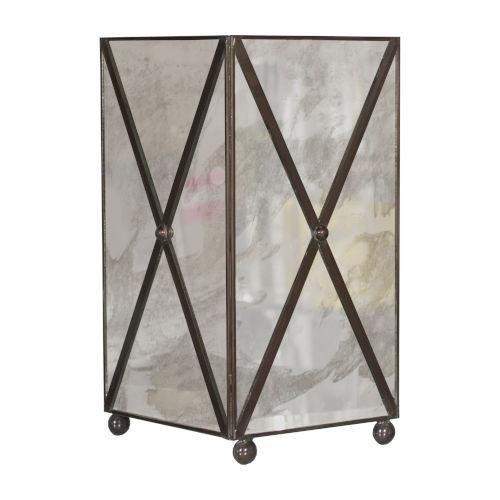 Antique Mirror and Bronze 7-Inch Waste Basket