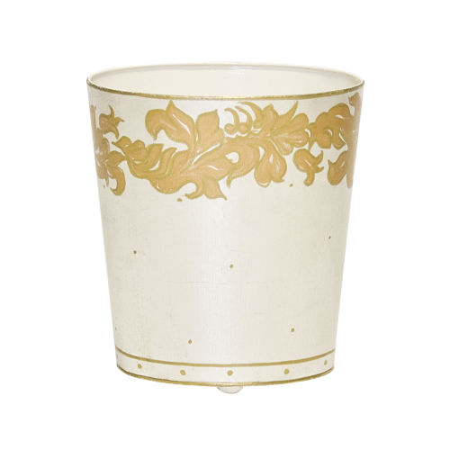Gold and Silver Oval Waste Basket