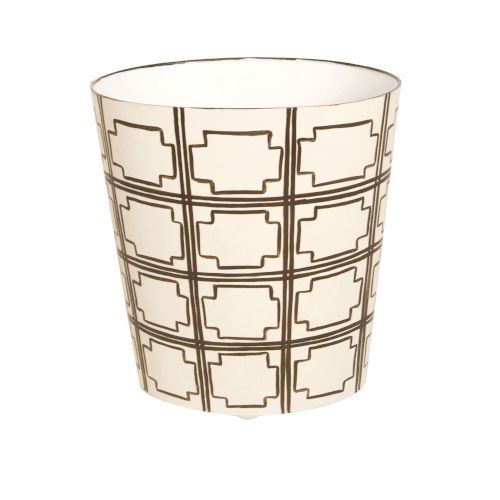 Brown and Cream Oval Waste Basket