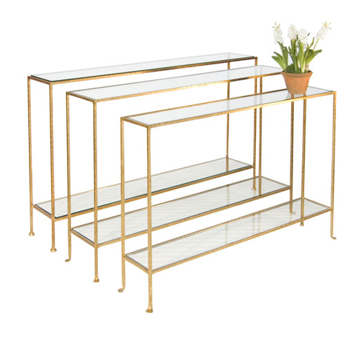 Hammered Gold Leaf 55-Inch Skinny Console Table with Clear Glass