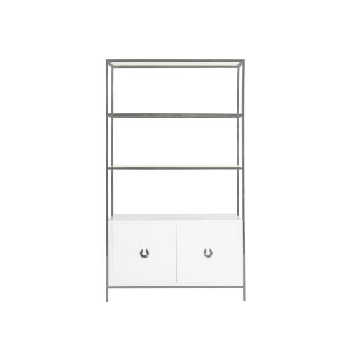 Glossy White Lacquer and Nickel 45-Inch Cabinet with Glass Shelf