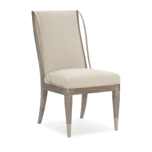 Classic Beige Open Arms Side Dining Chair