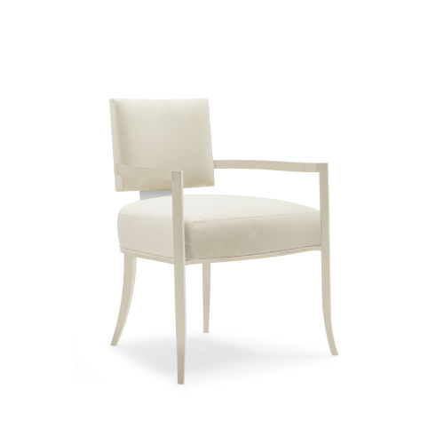 Caracole Classic Soft Silver Paint and Beige Reserved Seating Arm Chair