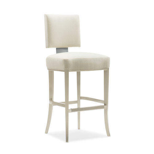 Caracole Classic Lightly Brushed Chrome and Beige Reserved Seating Bar Stool