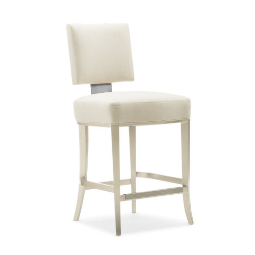 Caracole Classic Lightly Brushed Chrome and Beige Reserved Seating Counter Stool