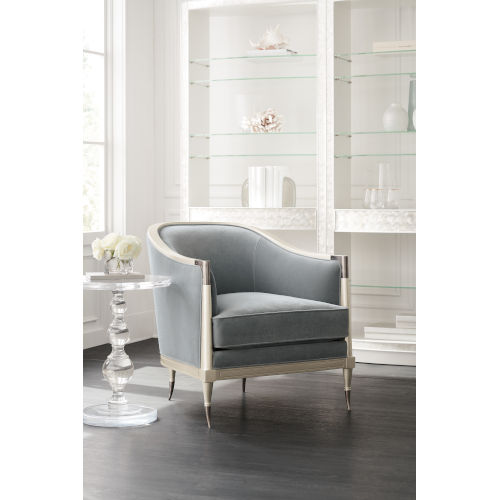 Caracole Classic Soft Silver Paint and Gray Splash of Flash Chair