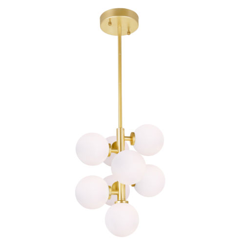Arya Satin Gold Eight-Light Pendant with Frosted Glass