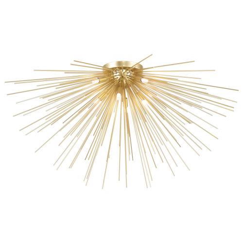 Savannah Gold Leaf Eight-Light Flush Mount