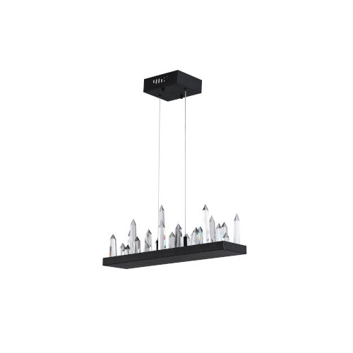 Juliette Black Integrated LED 34-Inch Chandelier with K9 Clear Crystal