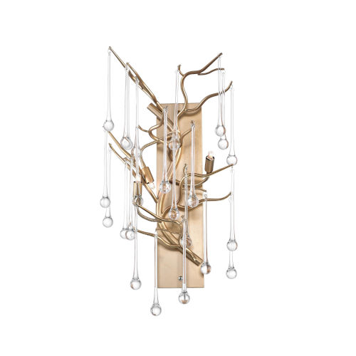 Anita Gold Leaf Three-Light Wall Sconce with K9 Clear Crystal