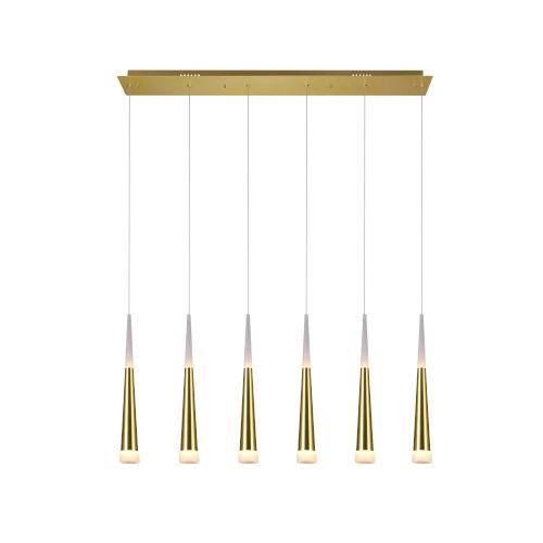 Andes Gold Leaf Six-Light LED Chandelier
