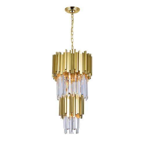 Deco Medallion Gold Four-Light 12-Inch Chandelier with K9 Clear Crystal