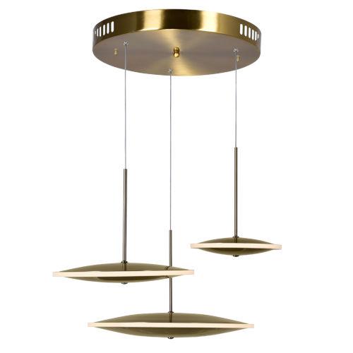 Ovni Brass Three-Light LED Pendant
