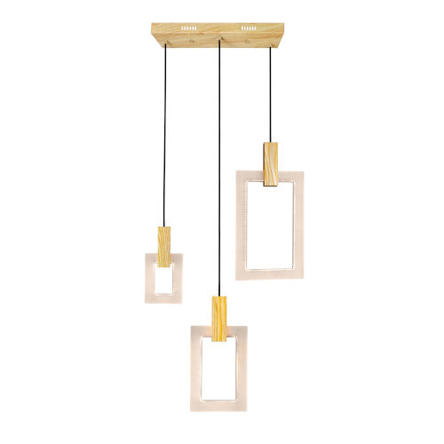 Anello White Oak Integrated LED 26-Inch Chandelier