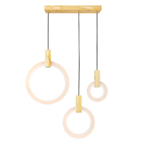 Anello White Oak Integrated LED 30-Inch Chandelier