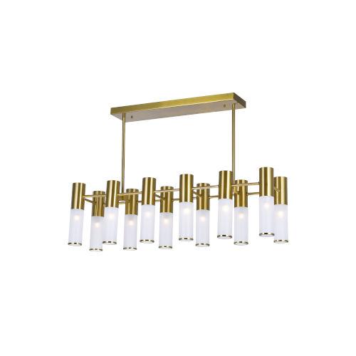 Pipes Brass 12-Light LED Chandelier