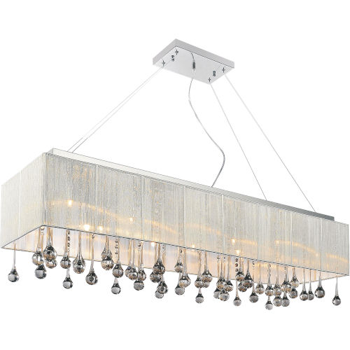 Water Drop Chrome 14-Light Chandelier with K9 Smoke Crystal