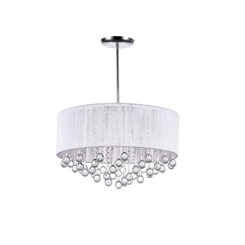 Water Drop Chrome Nine-Light 14-Inch Chandelier with K9 Clear Crystal