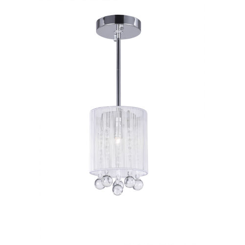Water Drop Chrome and White One-Light 9-Inch Mini Pendant with K9 Clear Crystal