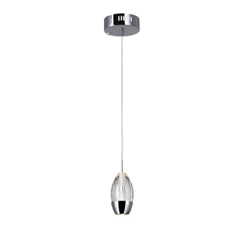 Perrier Chrome One-Light 6-Inch Mini Pendant with K9 Clear Crystal