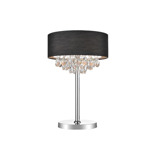 Dash Chrome and Black Three-Light 25-Inch Table Lamp with K9 Clear Crystal