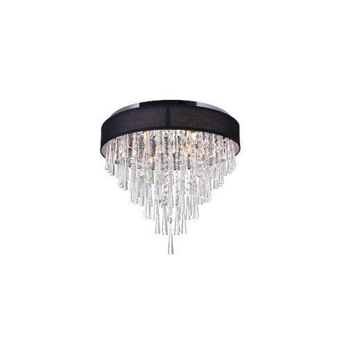 Franca Chrome Eight-Light Flush Mount with K9 Crystal