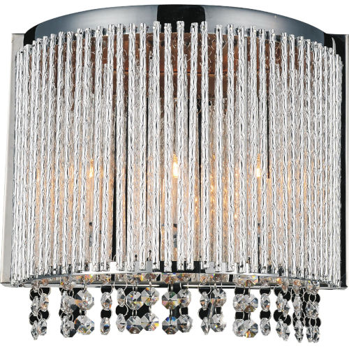 Claire Chrome Three-Light Wall Sconce with K9 Clear Crystal